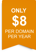only $8 per domain per year